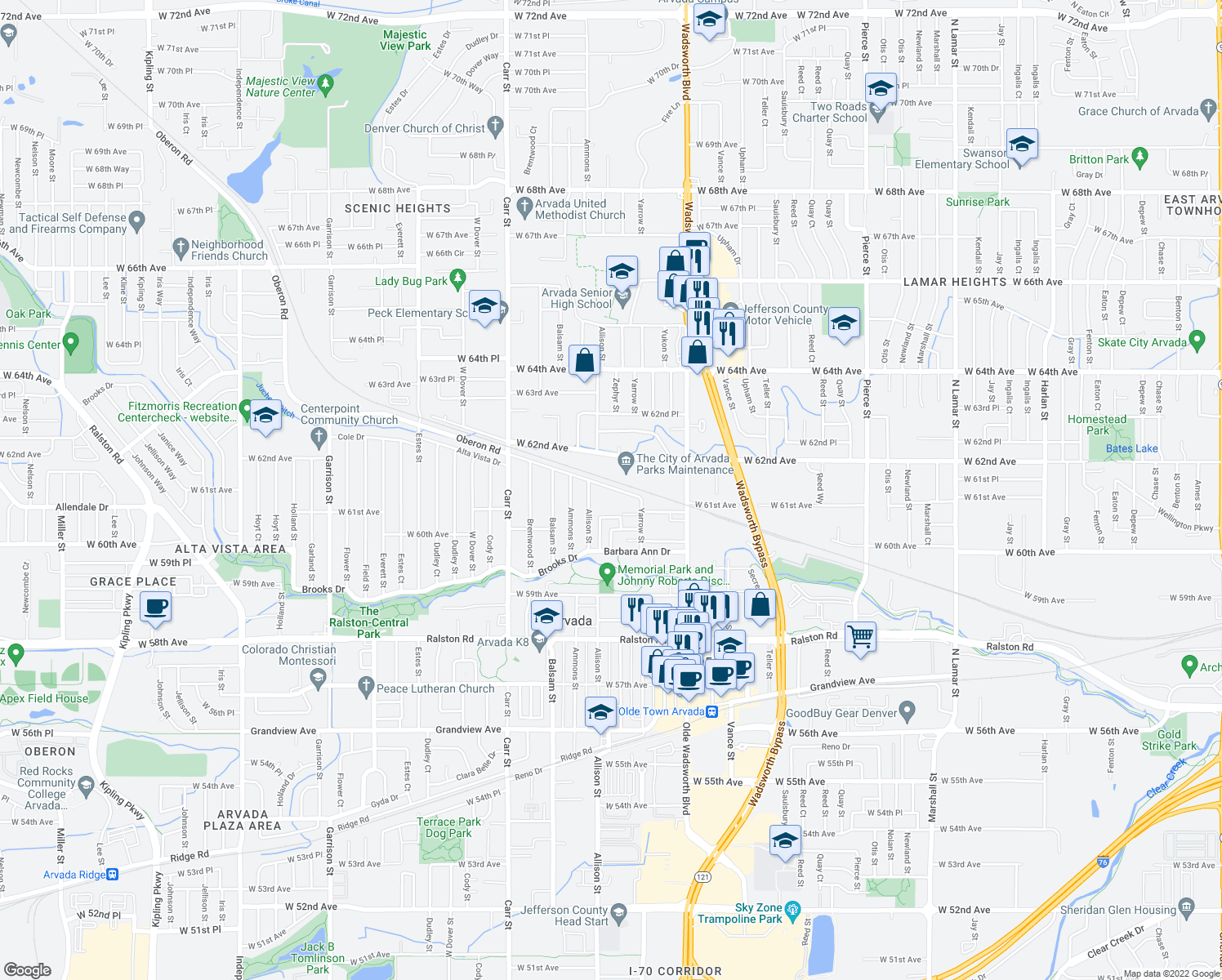 map of restaurants, bars, coffee shops, grocery stores, and more near 7932 Oberon Road in Arvada