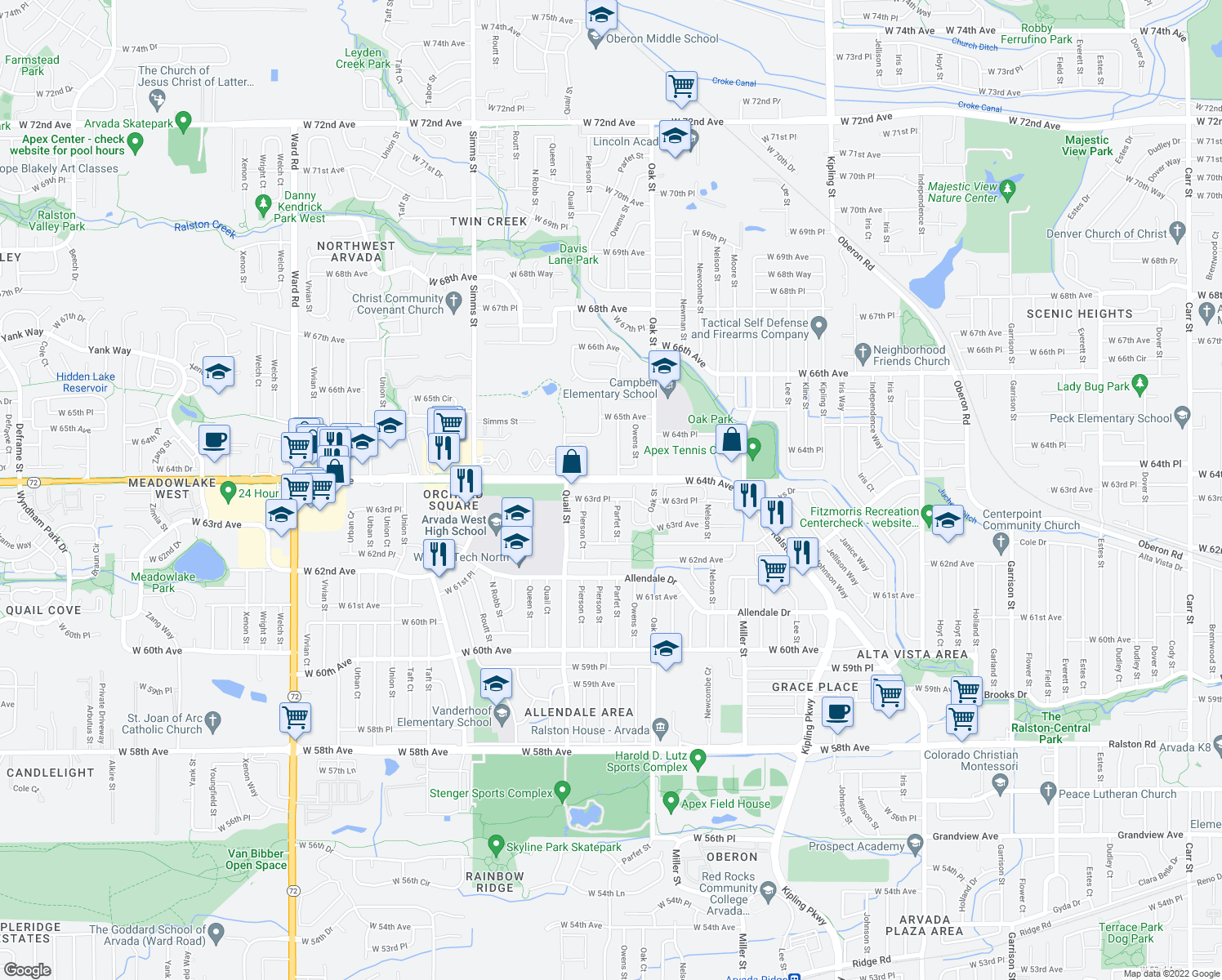 map of restaurants, bars, coffee shops, grocery stores, and more near 10901-11199 West 64th Avenue in Arvada