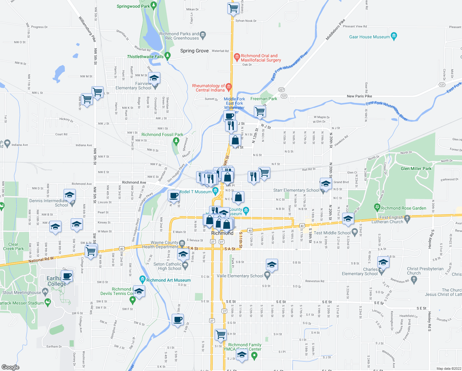 map of restaurants, bars, coffee shops, grocery stores, and more near Elm Place in Richmond