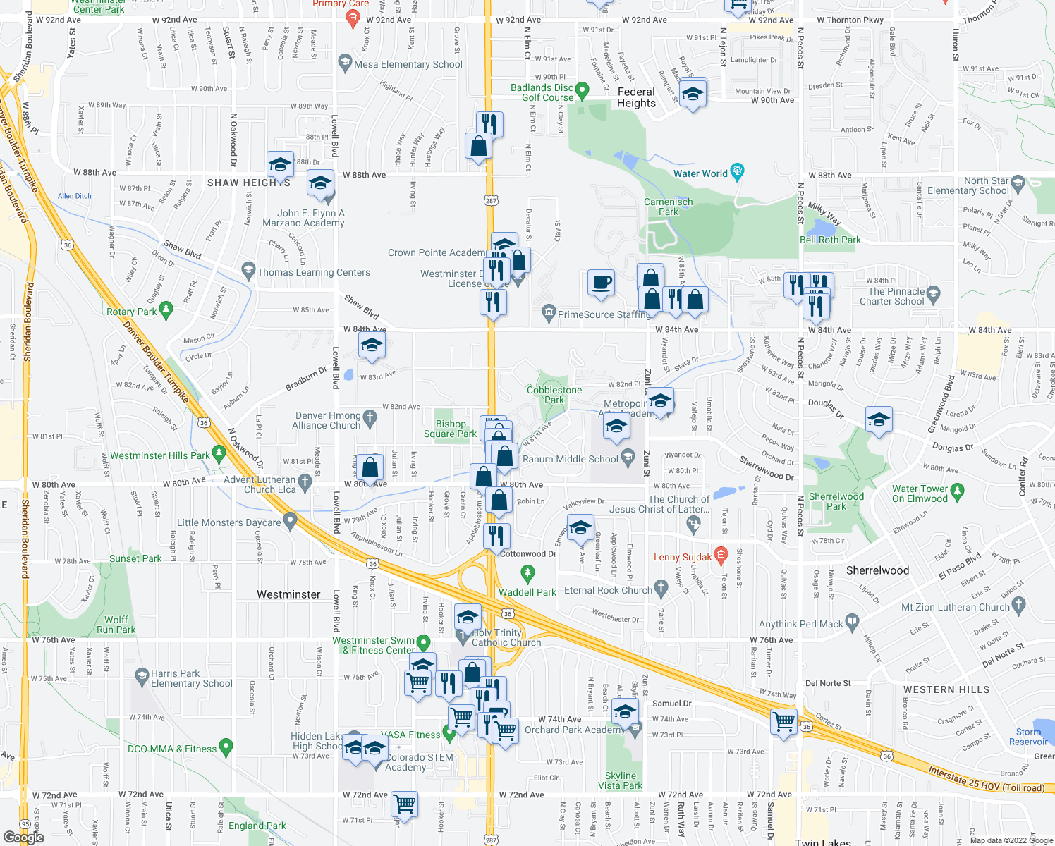 map of restaurants, bars, coffee shops, grocery stores, and more near 2933 West 81st Avenue in Westminster