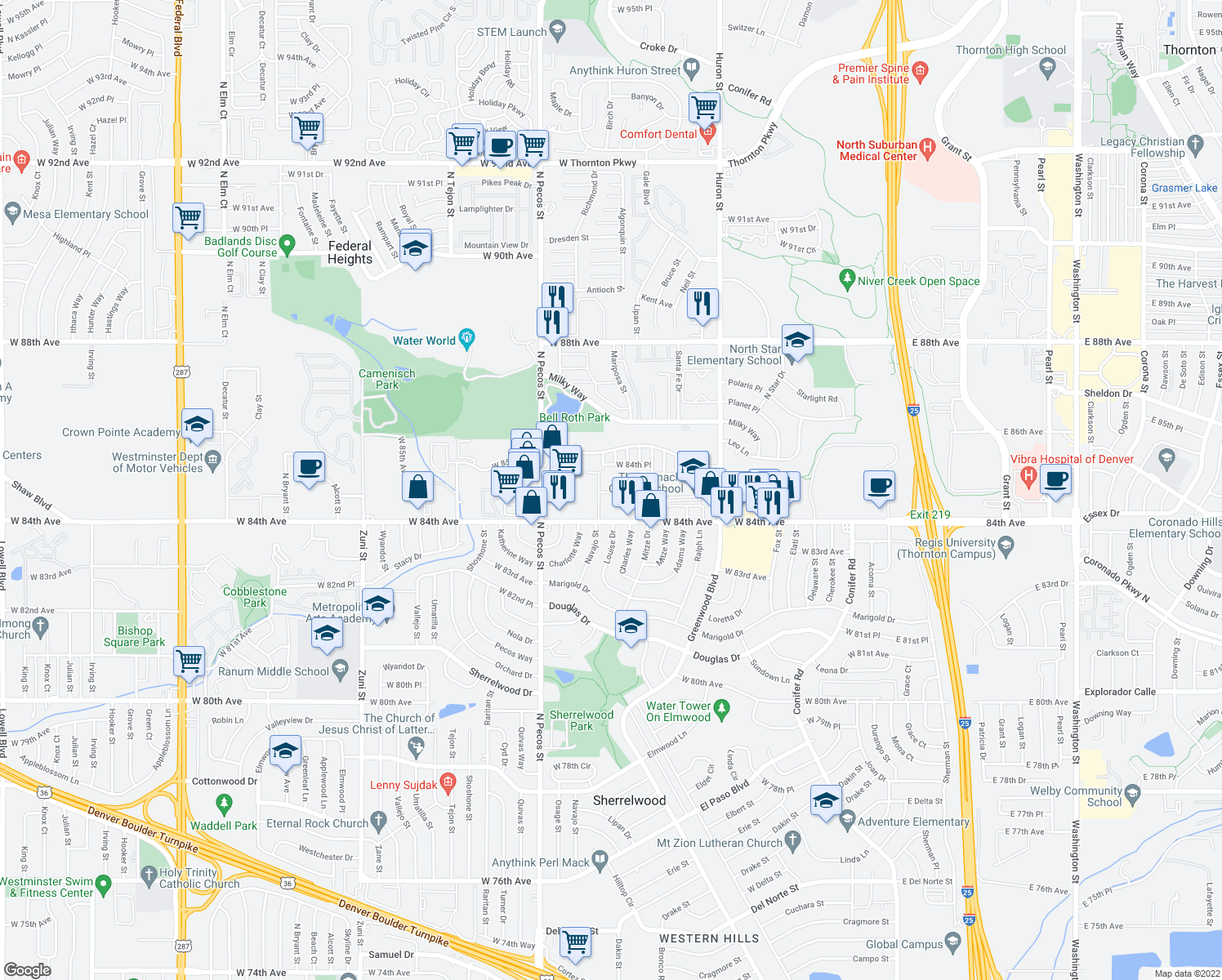 map of restaurants, bars, coffee shops, grocery stores, and more near 1327 West 84th Avenue in Federal Heights