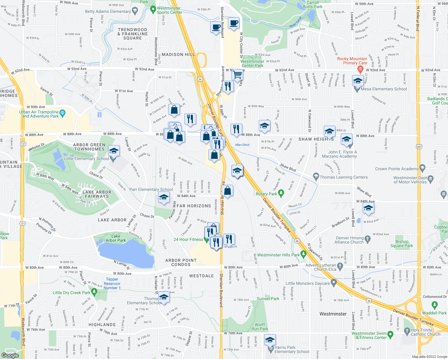 map of restaurants, bars, coffee shops, grocery stores, and more near 8490 North Sheridan Boulevard in Arvada