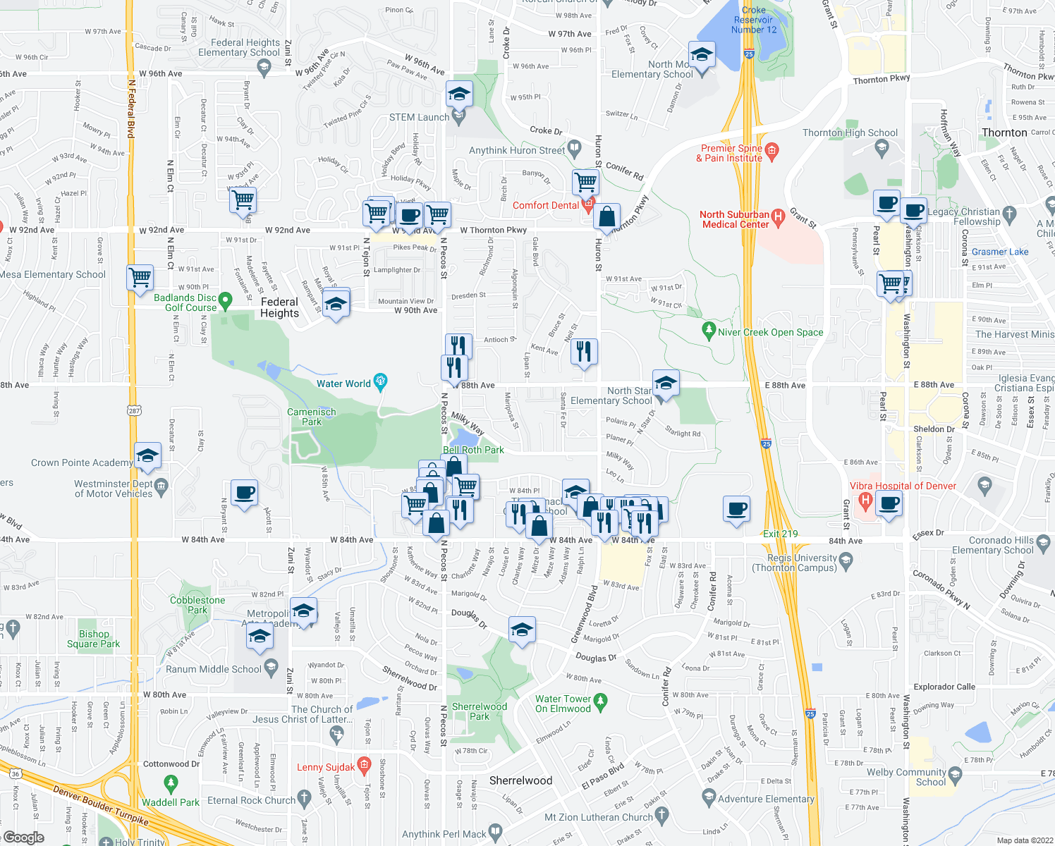 map of restaurants, bars, coffee shops, grocery stores, and more near 8730 Mariposa Street in Thornton