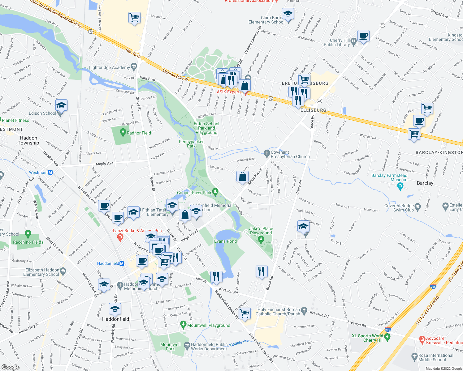 map of restaurants, bars, coffee shops, grocery stores, and more near 500 Park Boulevard in Cherry Hill