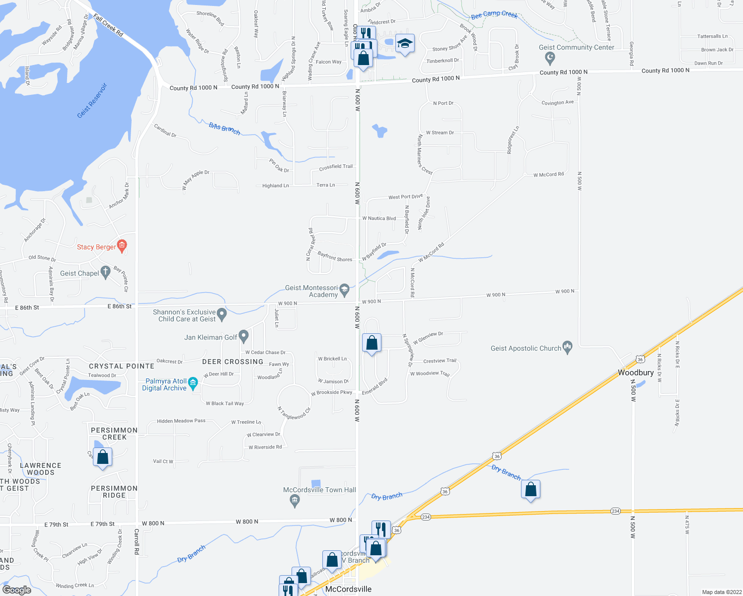 map of restaurants, bars, coffee shops, grocery stores, and more near 9020 North Falling Waters Drive in McCordsville