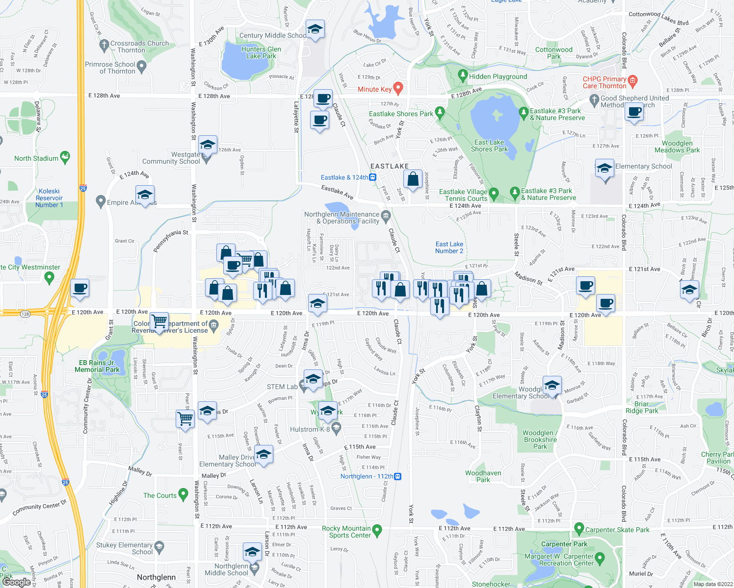 map of restaurants, bars, coffee shops, grocery stores, and more near 12150 Race Street in Denver