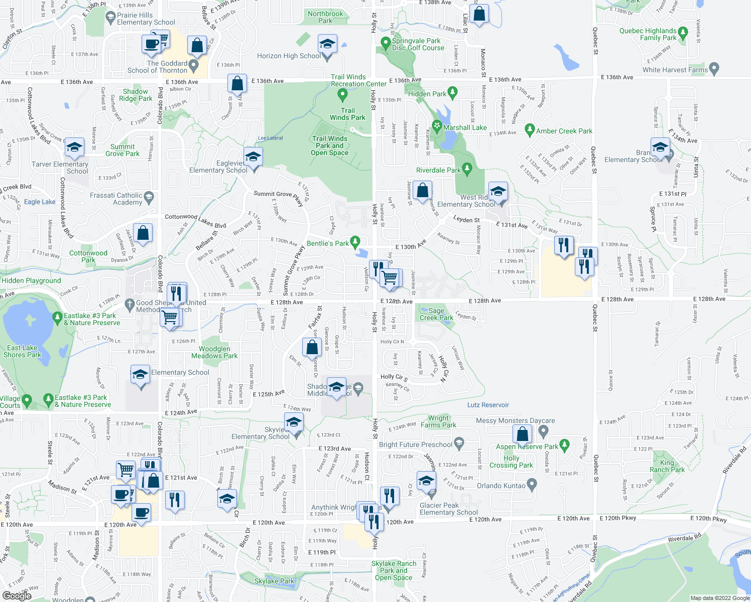 map of restaurants, bars, coffee shops, grocery stores, and more near Holly Street & East 128th Avenue in Thornton