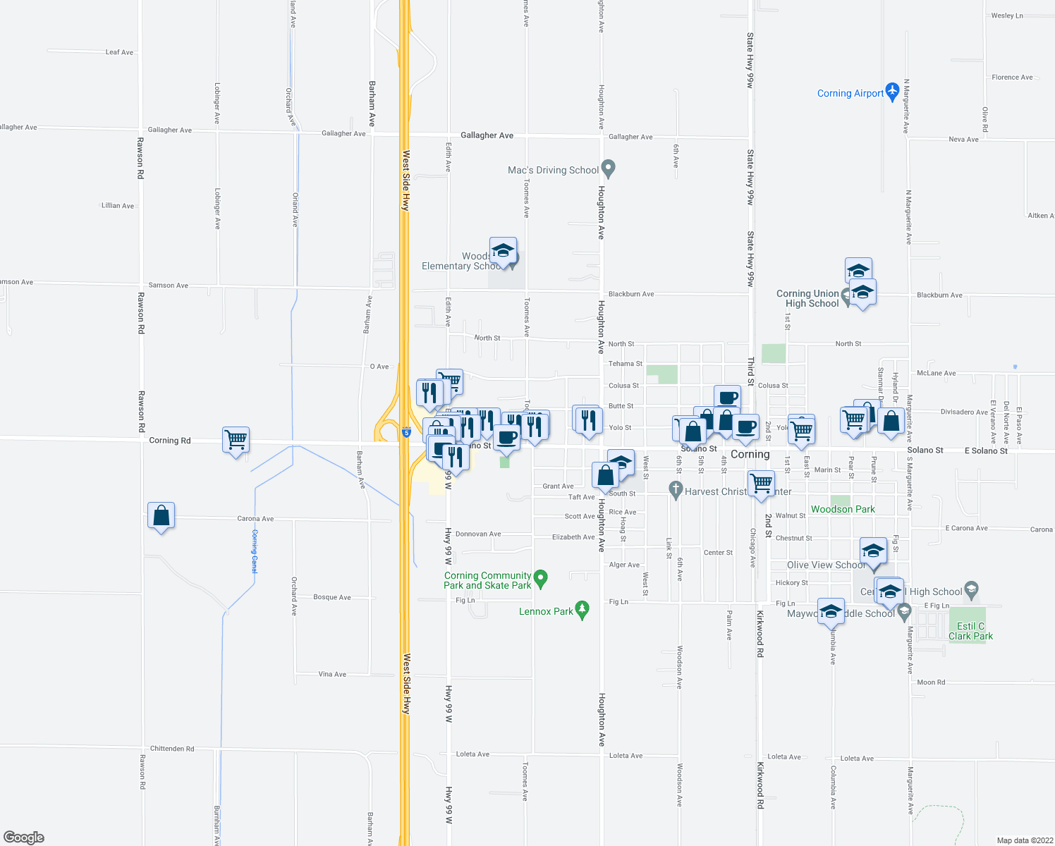 map of restaurants, bars, coffee shops, grocery stores, and more near 2020 Solano Street in Corning