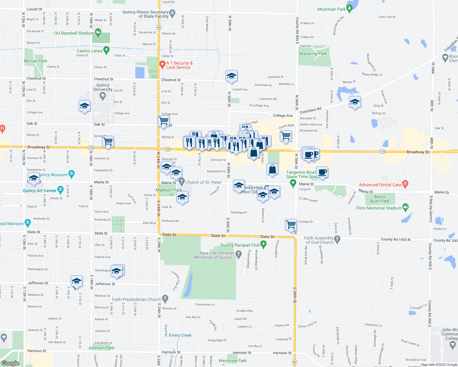 map of restaurants, bars, coffee shops, grocery stores, and more near 75 Woodlawn Road in Quincy