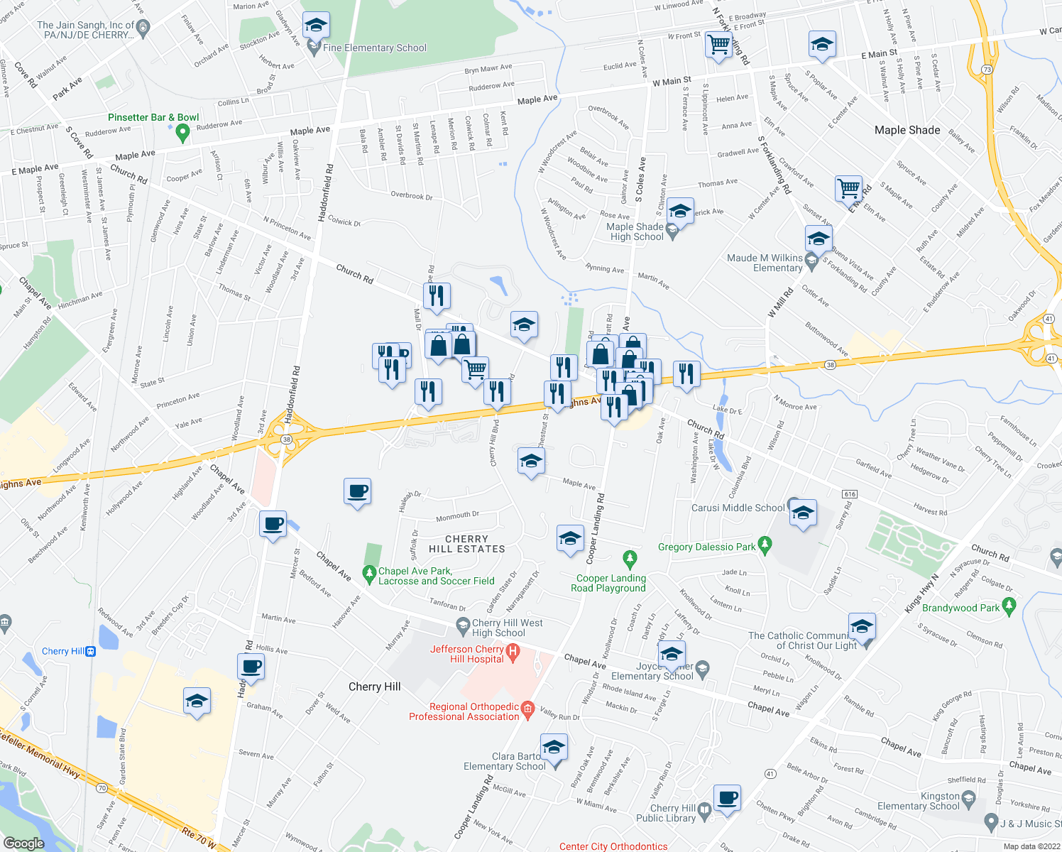 map of restaurants, bars, coffee shops, grocery stores, and more near 106 Chestnut Street in Cherry Hill