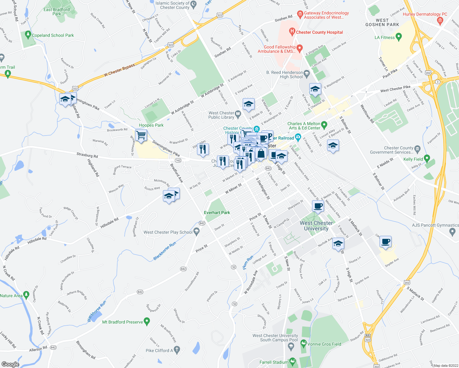 map of restaurants, bars, coffee shops, grocery stores, and more near S Wayne St & Wollerton St in West Chester