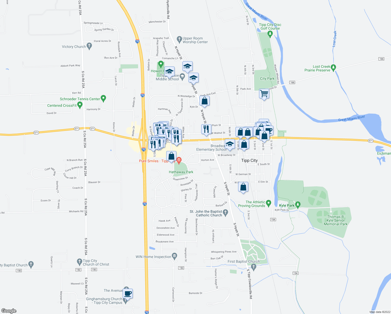 map of restaurants, bars, coffee shops, grocery stores, and more near 10 Regency Square in Tipp City