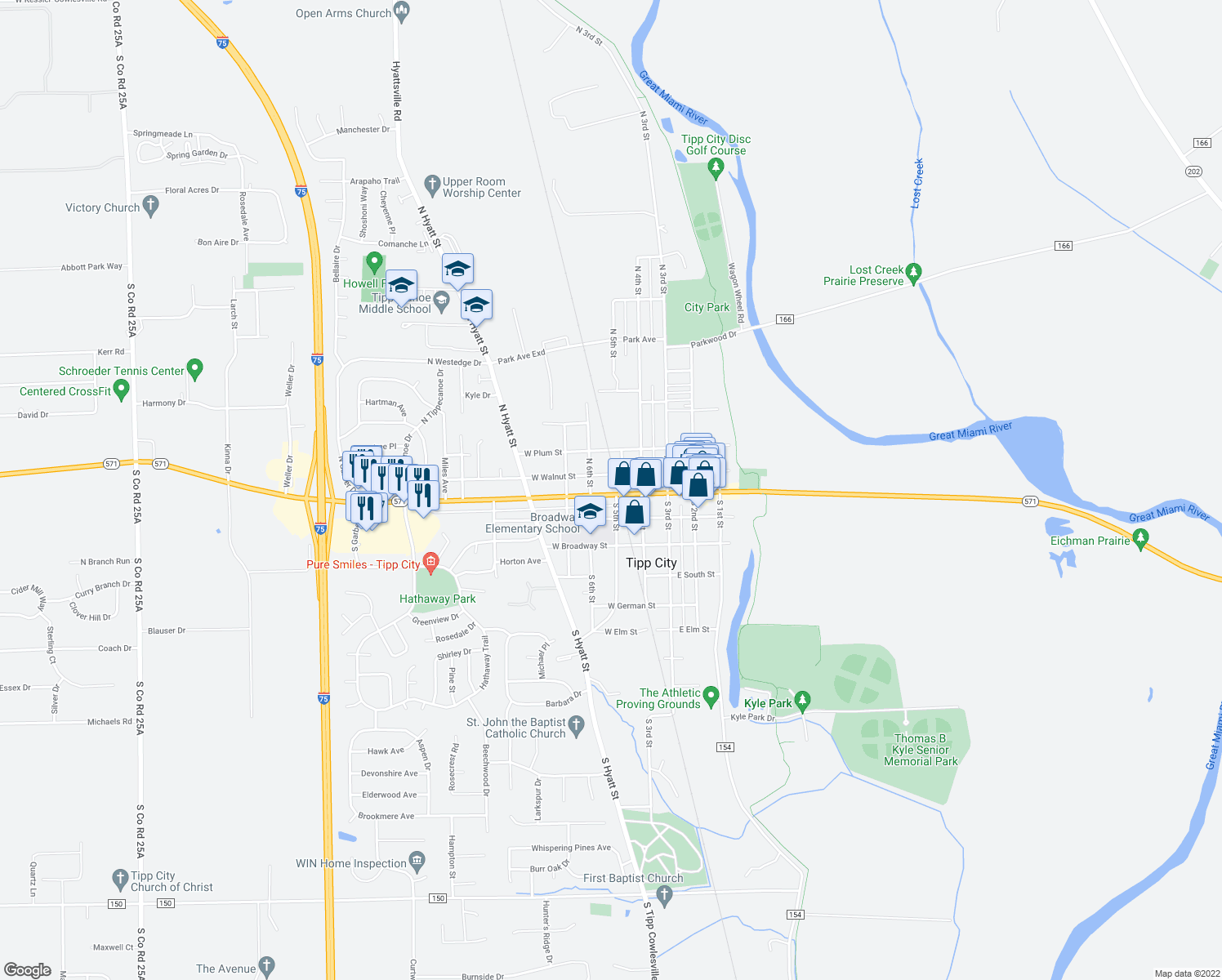 map of restaurants, bars, coffee shops, grocery stores, and more near 203 W Main St in Tipp City