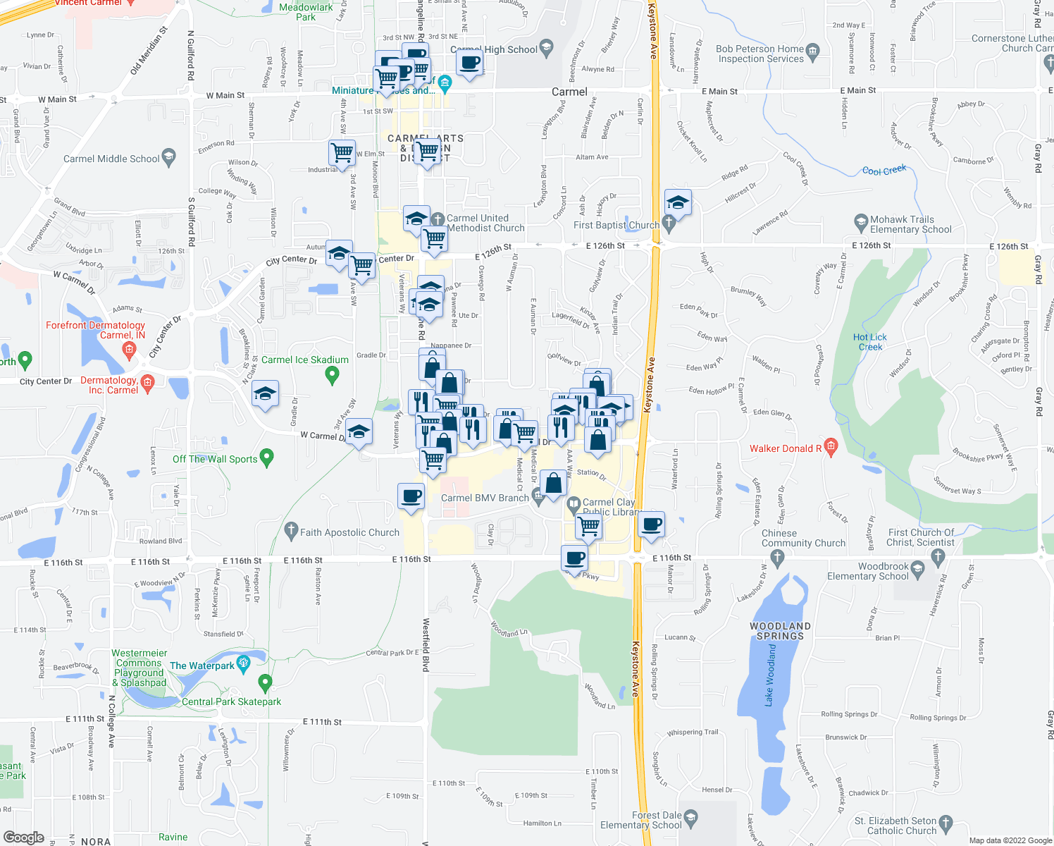 map of restaurants, bars, coffee shops, grocery stores, and more near 342 Hunters Lane in Carmel
