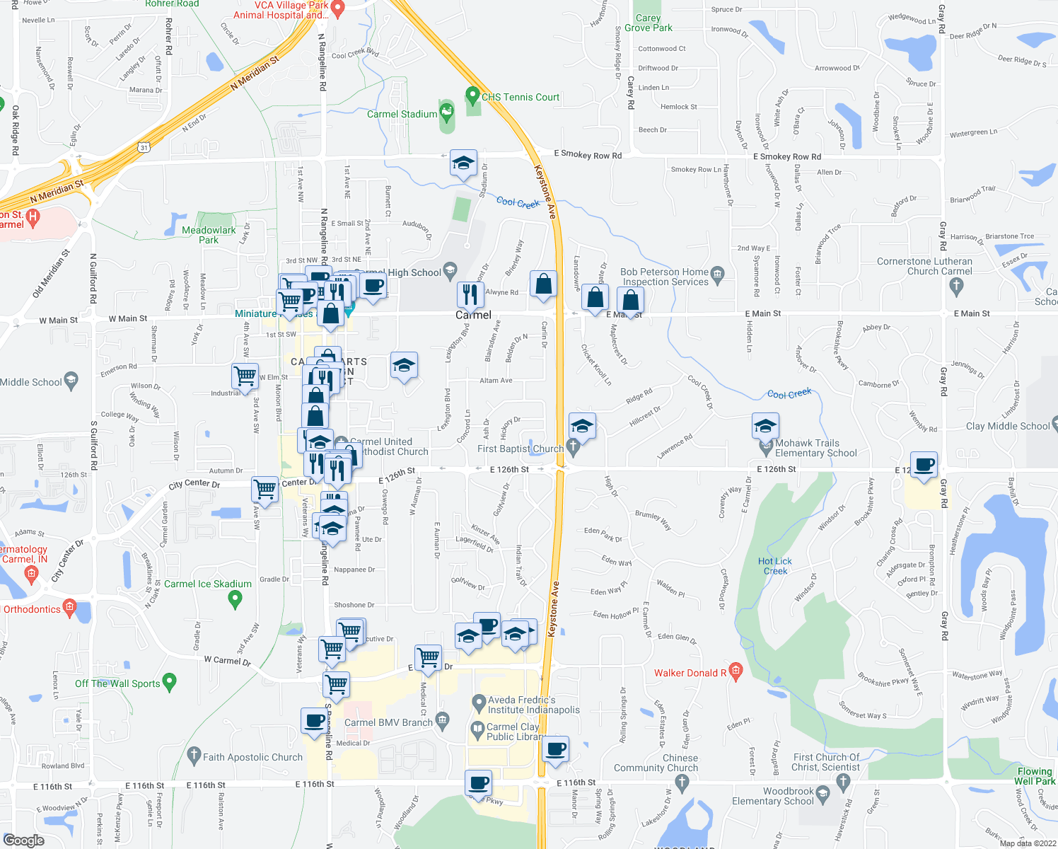 map of restaurants, bars, coffee shops, grocery stores, and more near 834-842 Hickory Drive in Carmel