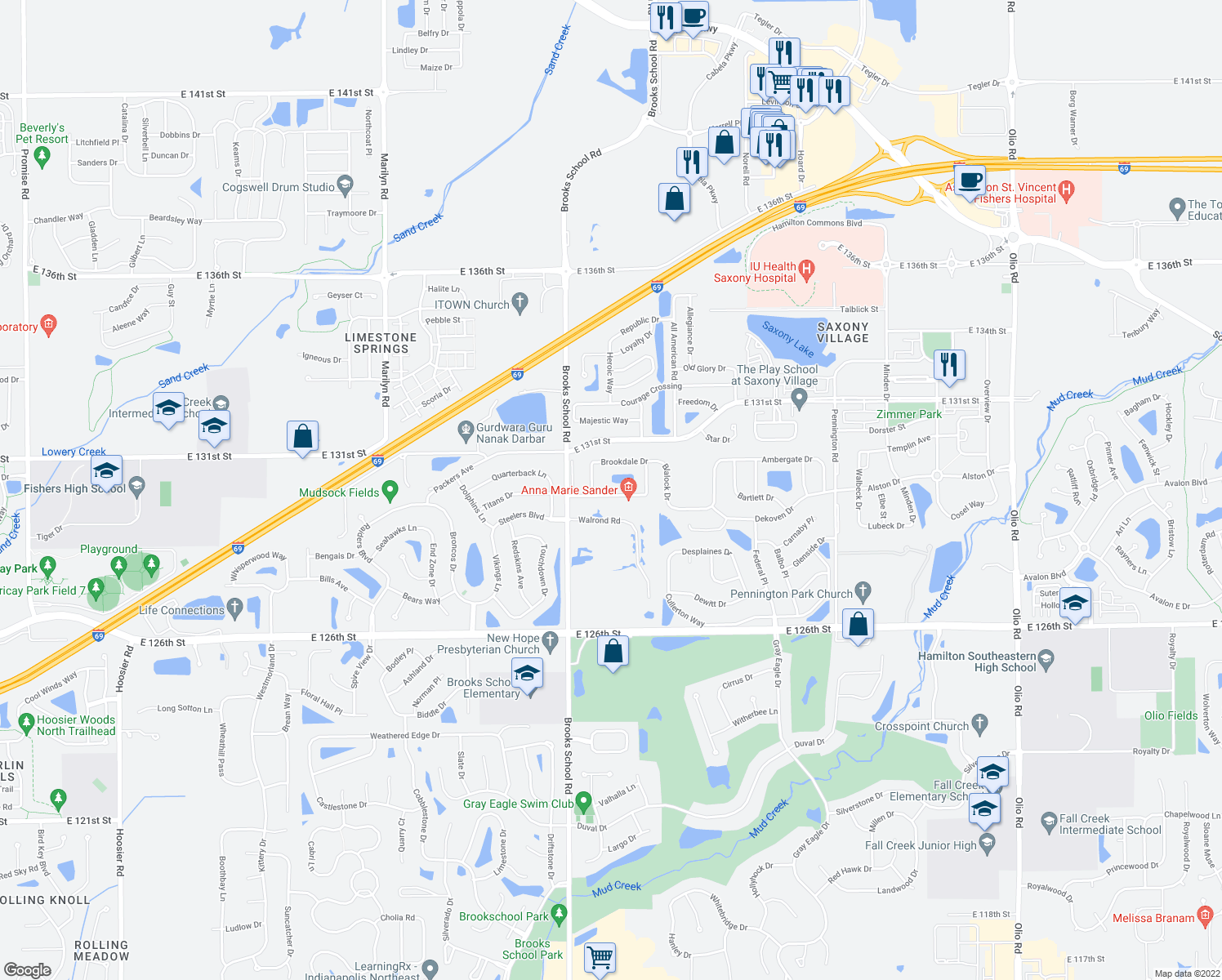 map of restaurants, bars, coffee shops, grocery stores, and more near 12628 Brookhaven Drive in Fishers