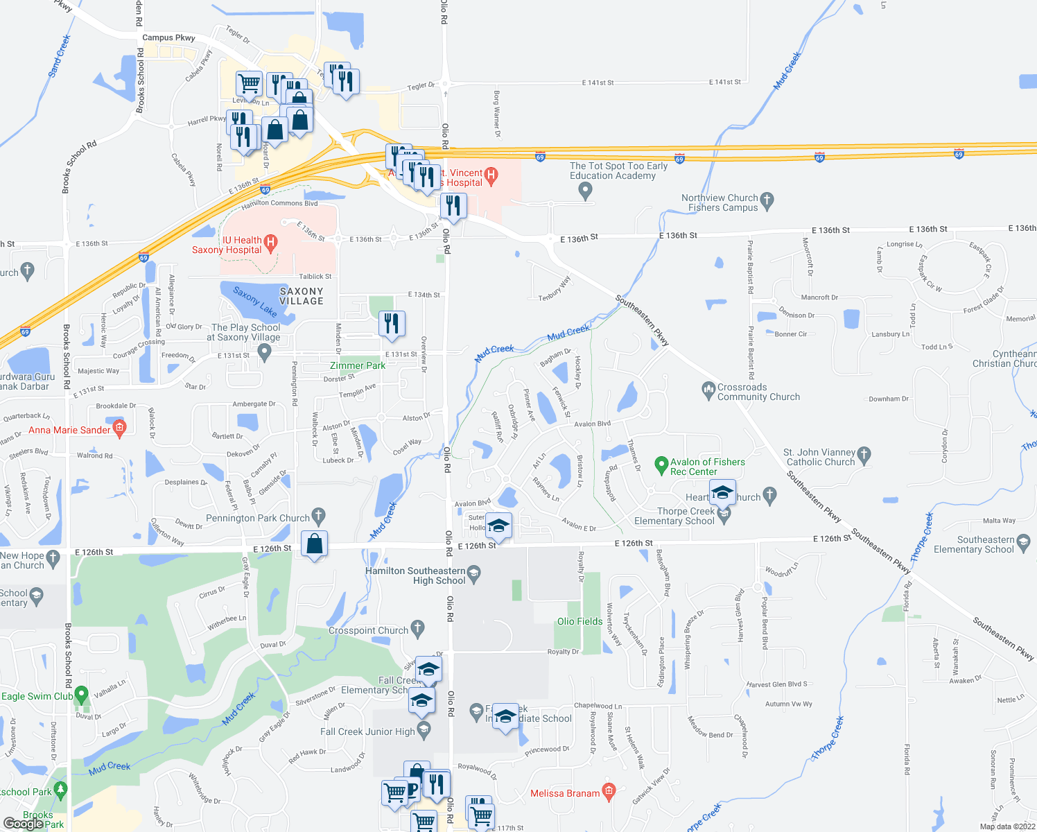 map of restaurants, bars, coffee shops, grocery stores, and more near 13987 London Road in Fishers