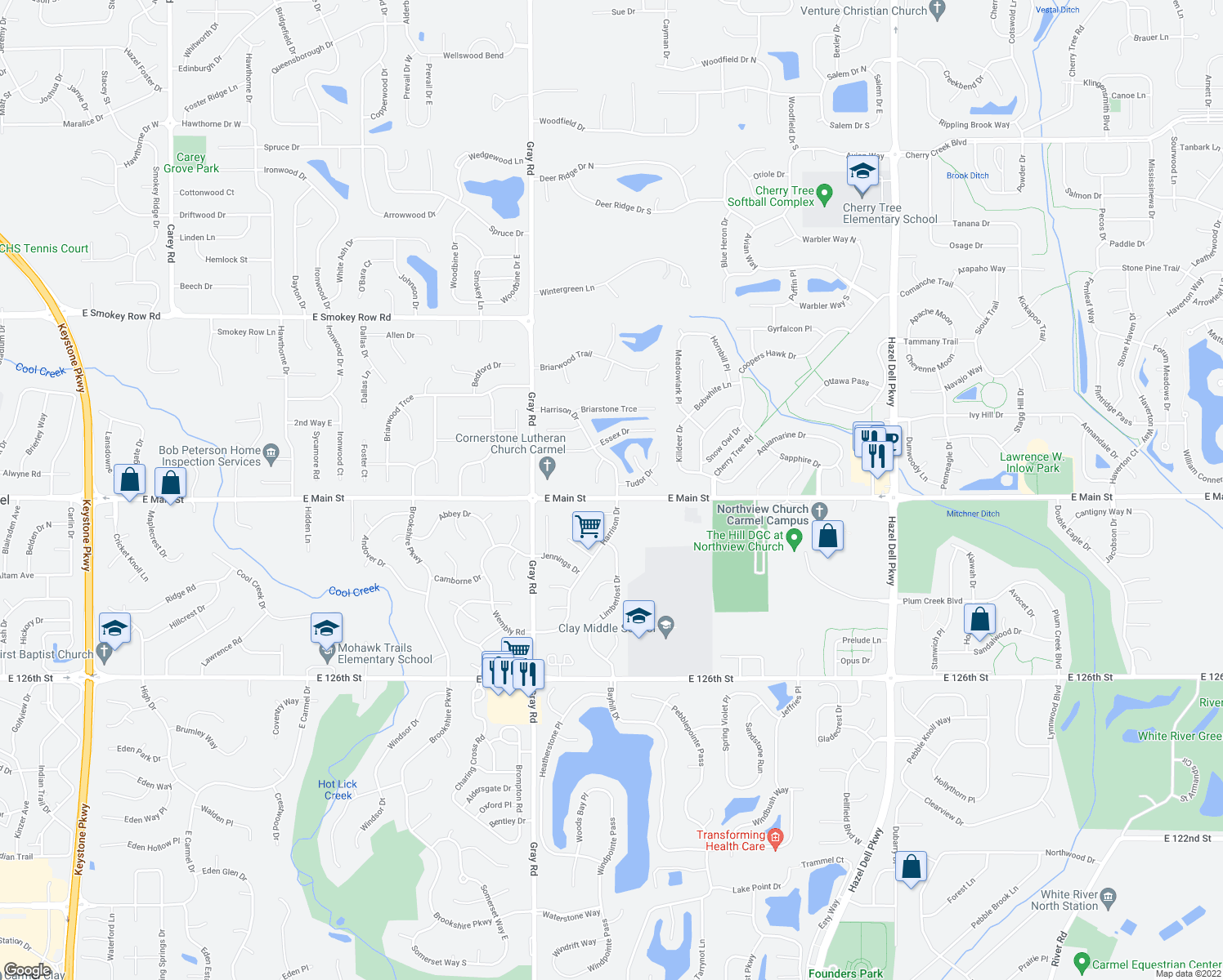 map of restaurants, bars, coffee shops, grocery stores, and more near 13108 Harrison Drive in Carmel