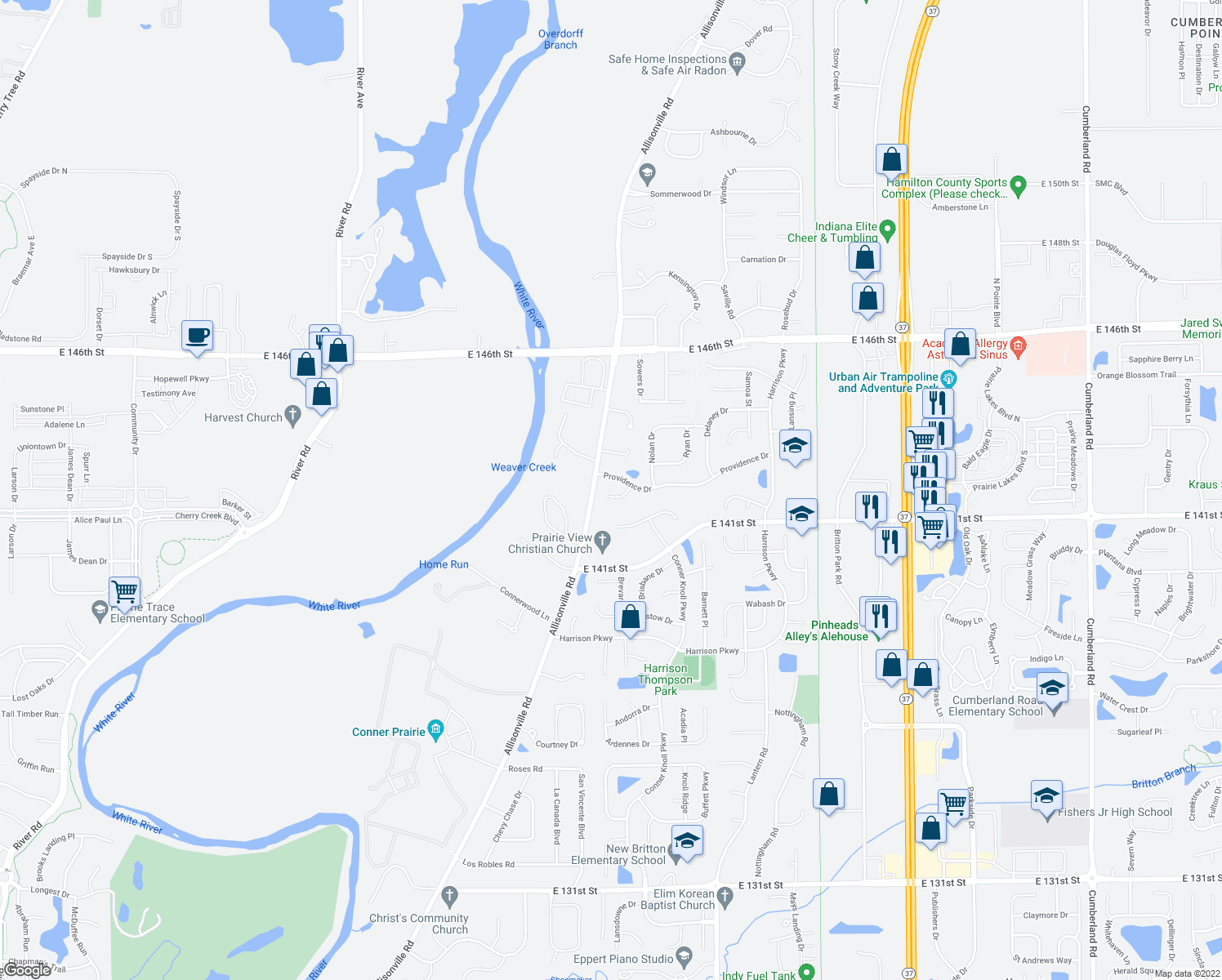 map of restaurants, bars, coffee shops, grocery stores, and more near 8399 Brennan Court in Fishers