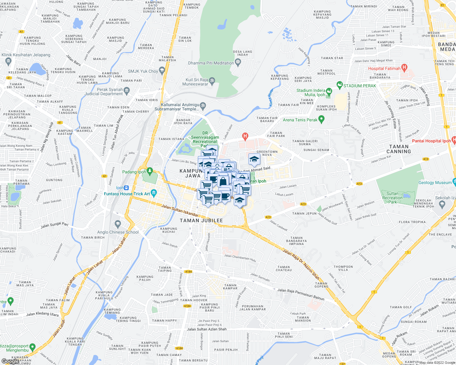 map of restaurants, bars, coffee shops, grocery stores, and more near Persiaran Greenhill in Ipoh