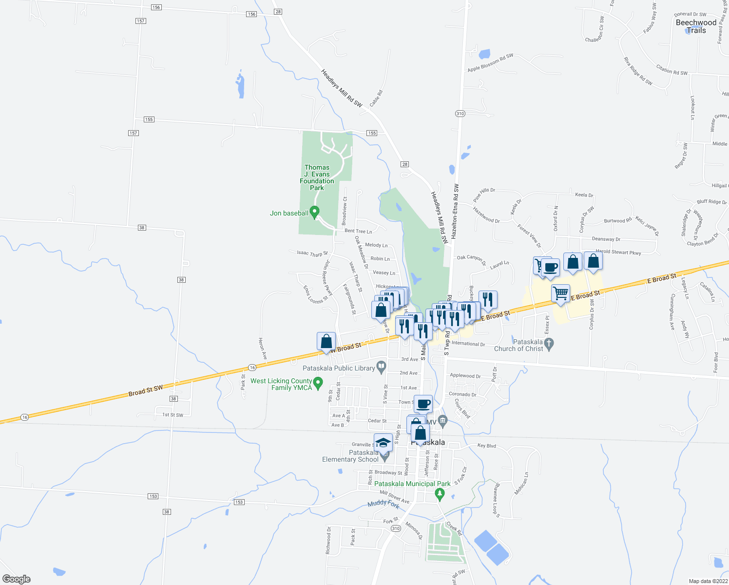 map of restaurants, bars, coffee shops, grocery stores, and more near 228 Isaac Tharp Street in Pataskala