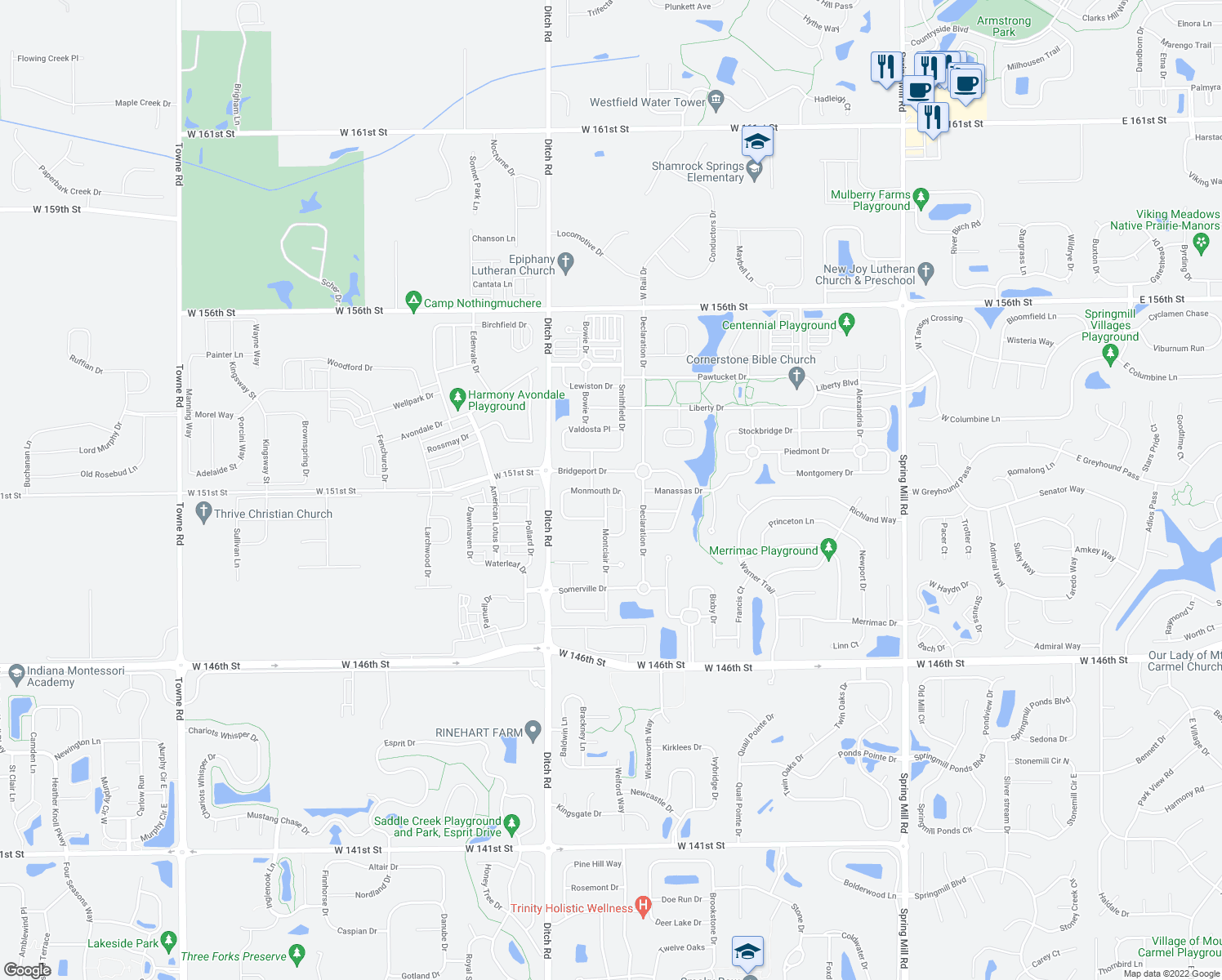 map of restaurants, bars, coffee shops, grocery stores, and more near 15095 Rutherford Drive in Westfield