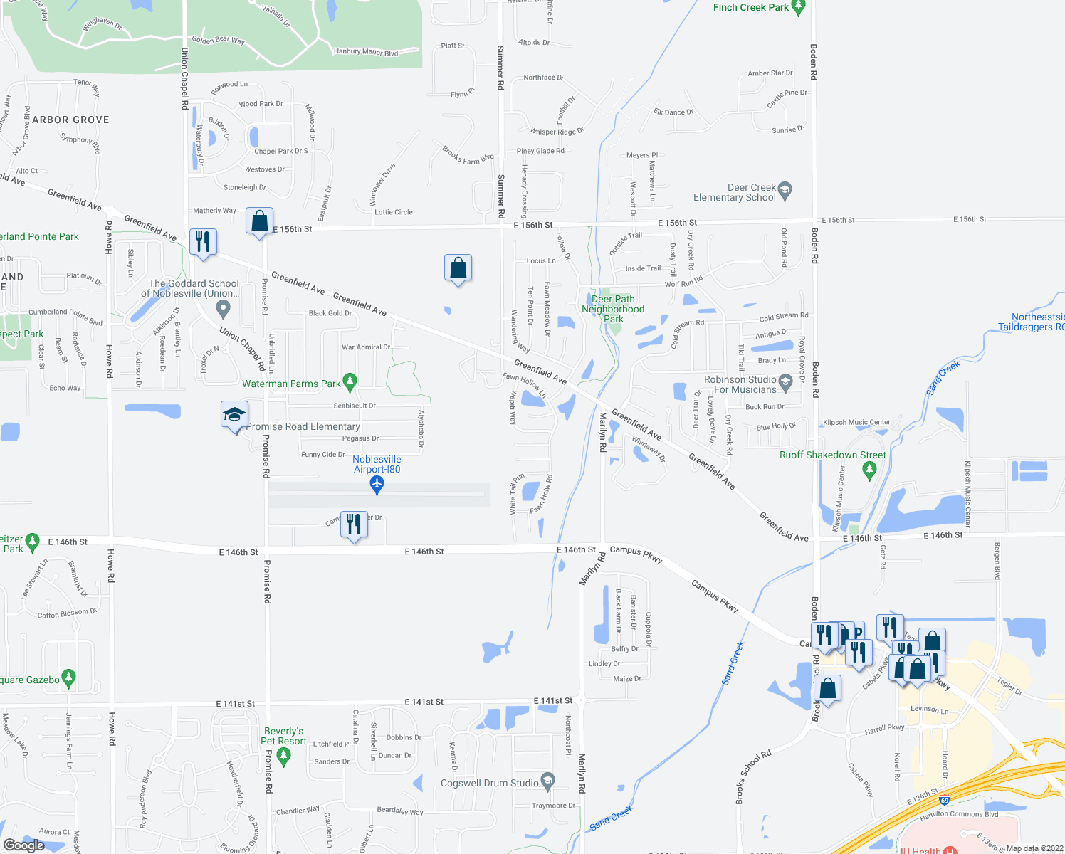 map of restaurants, bars, coffee shops, grocery stores, and more near 11926 Wapiti Way in Noblesville