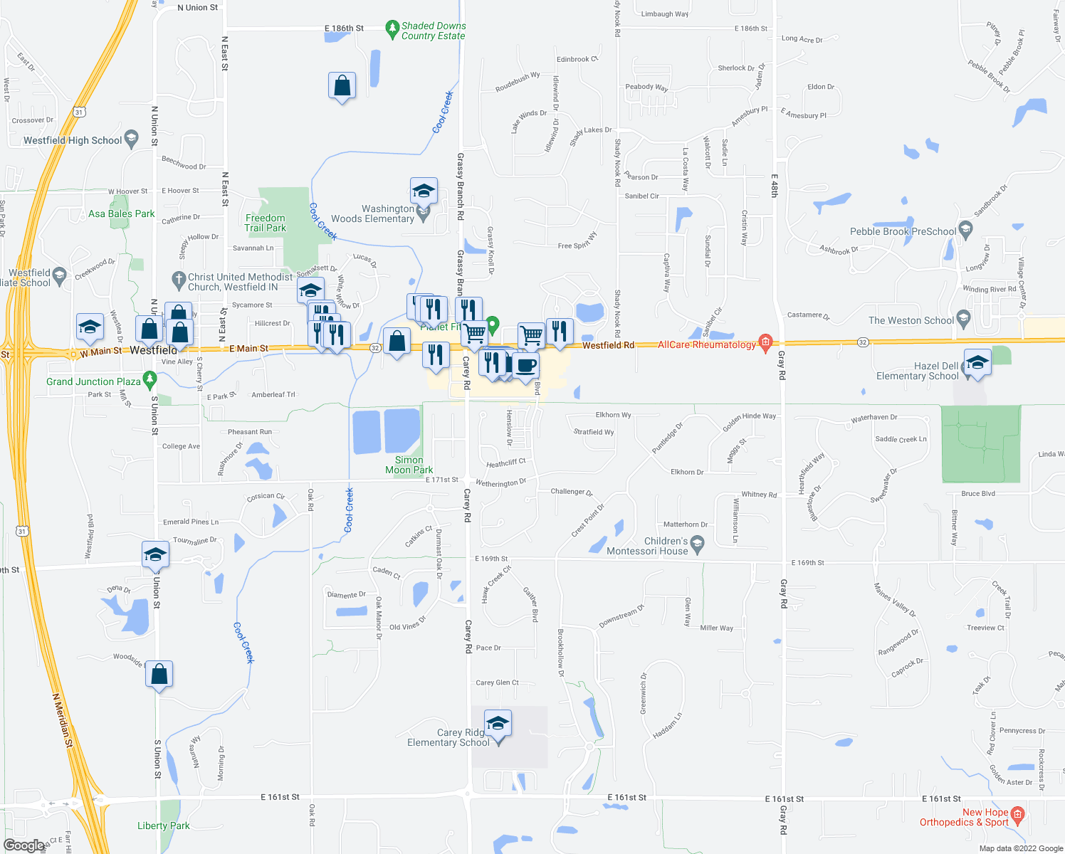 map of restaurants, bars, coffee shops, grocery stores, and more near 17261 Gunther Boulevard in Westfield