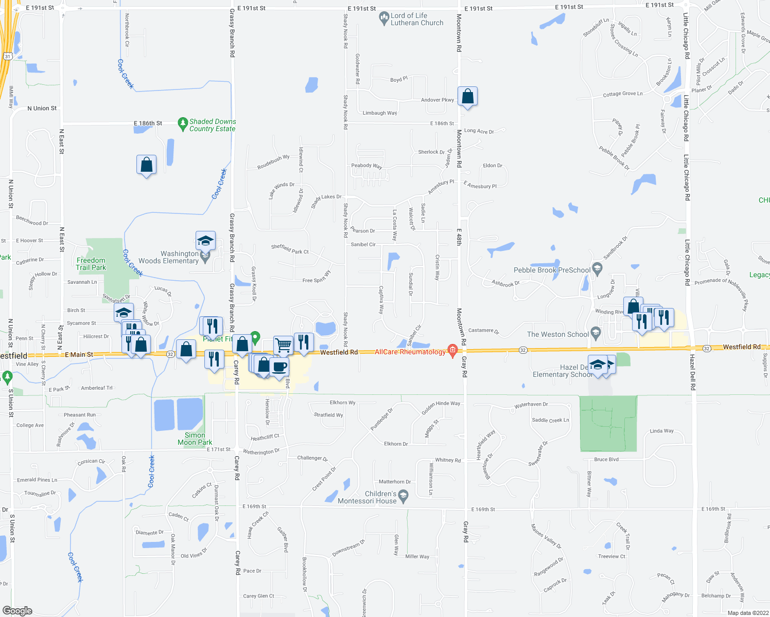 map of restaurants, bars, coffee shops, grocery stores, and more near 17781 Captiva Way in Noblesville