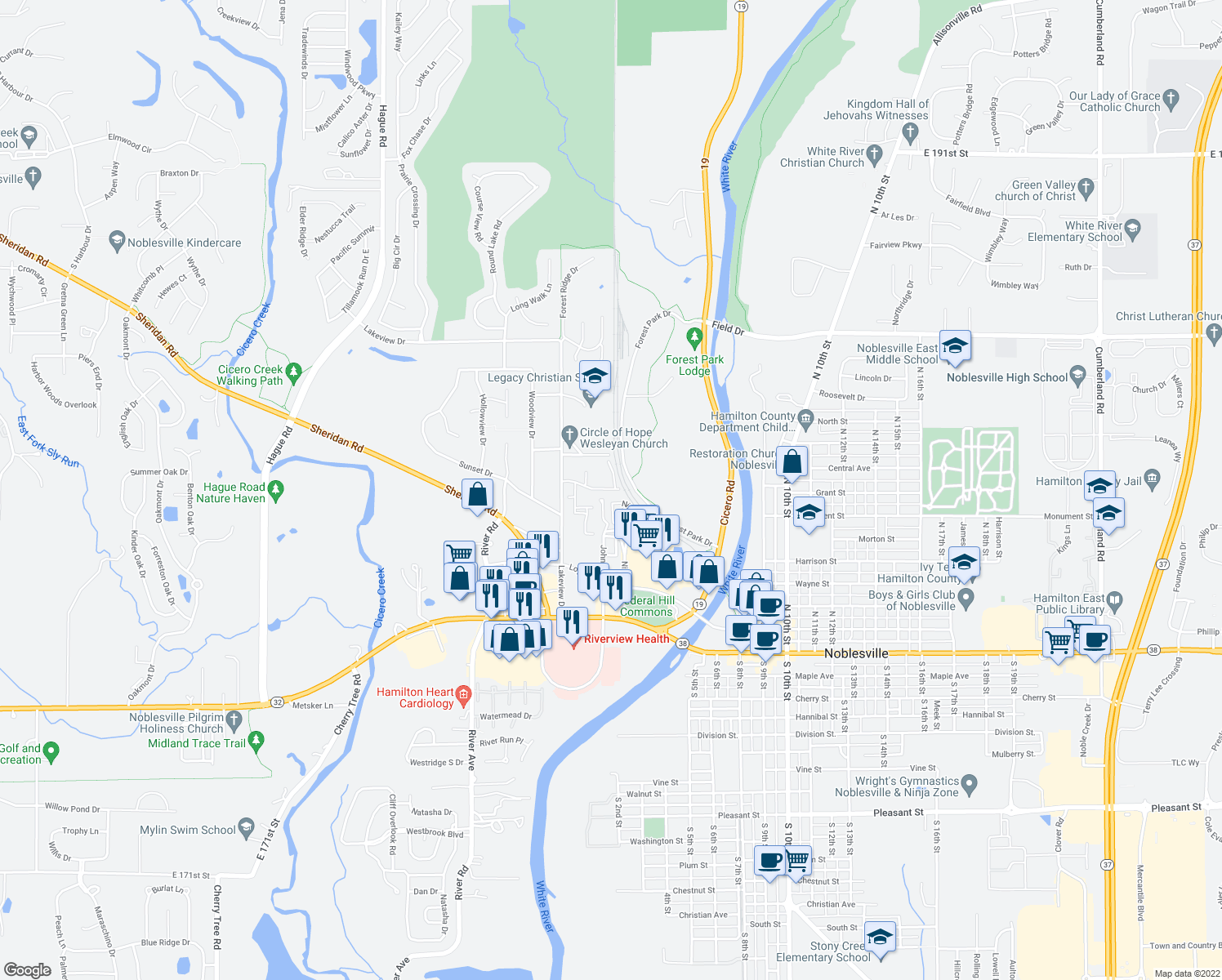 map of restaurants, bars, coffee shops, grocery stores, and more near 318-360 Great Lakes Drive in Noblesville
