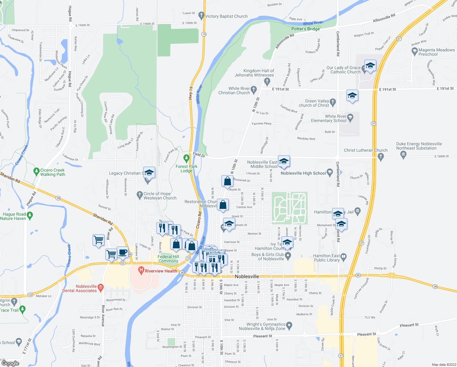 map of restaurants, bars, coffee shops, grocery stores, and more near 1053 North 10th Street in Noblesville