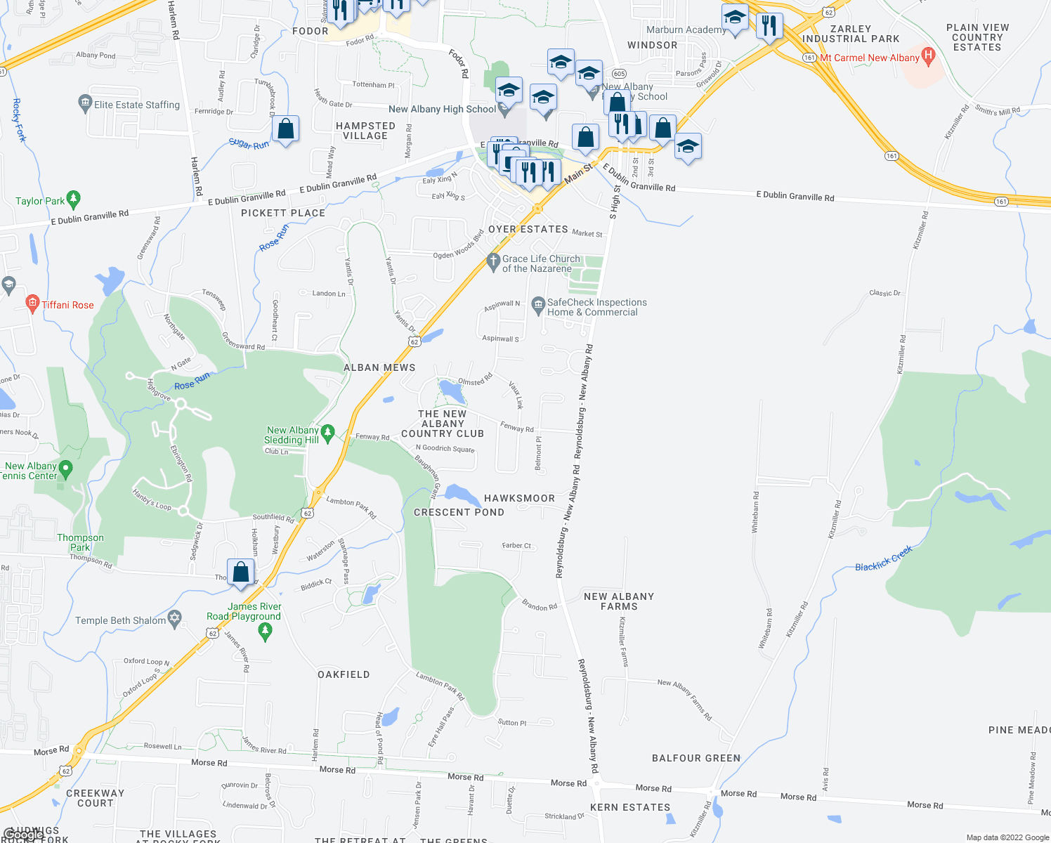 map of restaurants, bars, coffee shops, grocery stores, and more near 7762 Fenway Road in New Albany