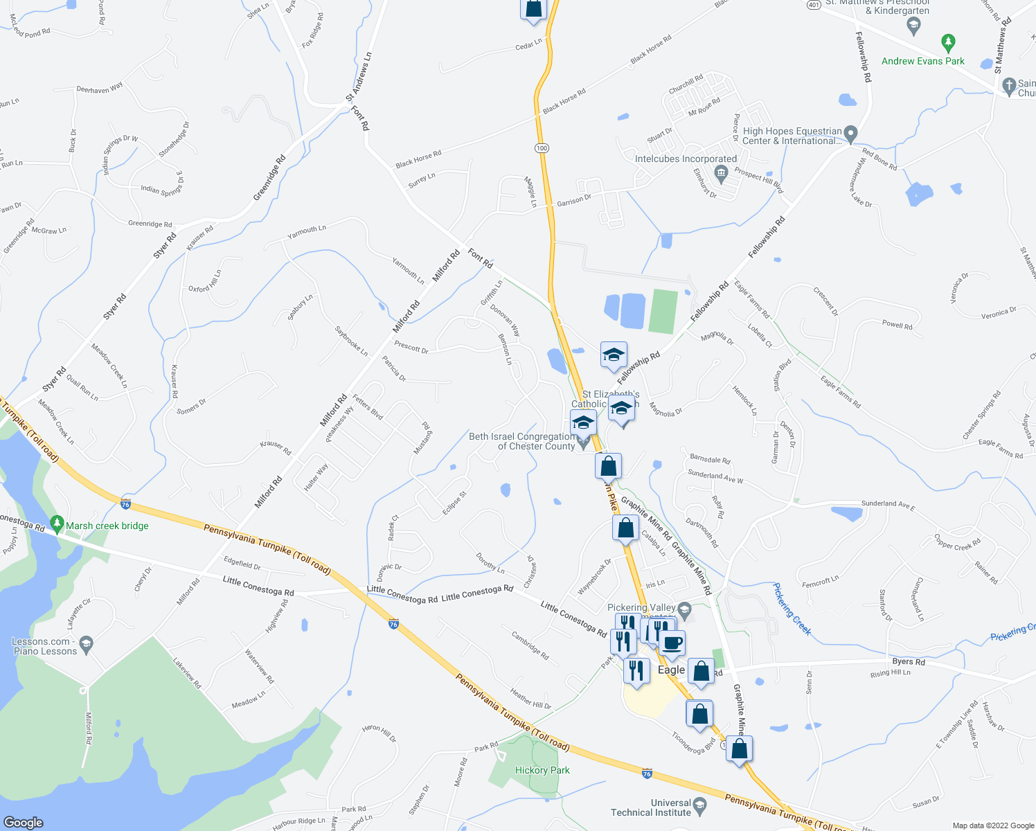 map of restaurants, bars, coffee shops, grocery stores, and more near 220 Prescott Drive in Chester Springs