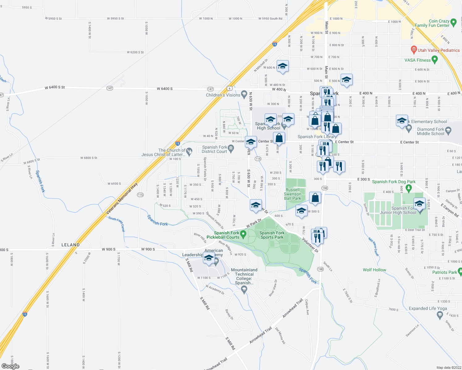 map of restaurants, bars, coffee shops, grocery stores, and more near 297 South 750 West in Spanish Fork