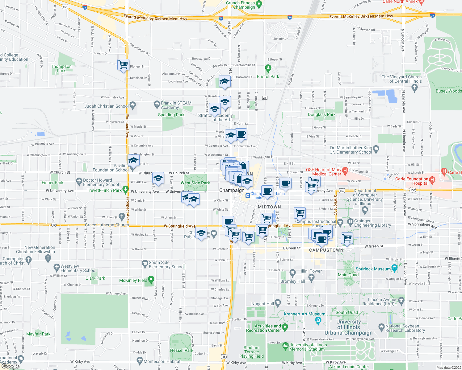 map of restaurants, bars, coffee shops, grocery stores, and more near 118 North Neil Street in Champaign
