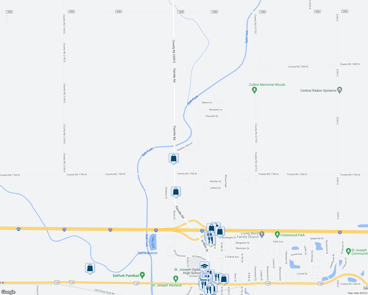 map of restaurants, bars, coffee shops, grocery stores, and more near 1213 Morningside Drive in St. Joseph