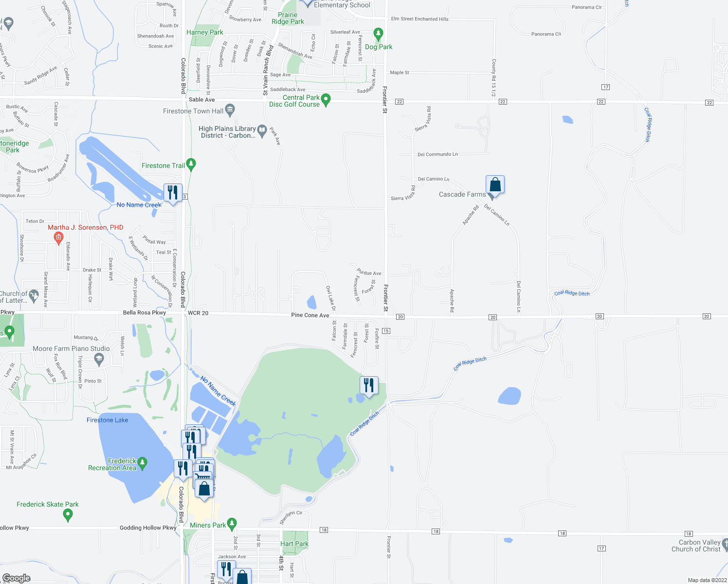 map of restaurants, bars, coffee shops, grocery stores, and more near 8889 Forest Street in Firestone