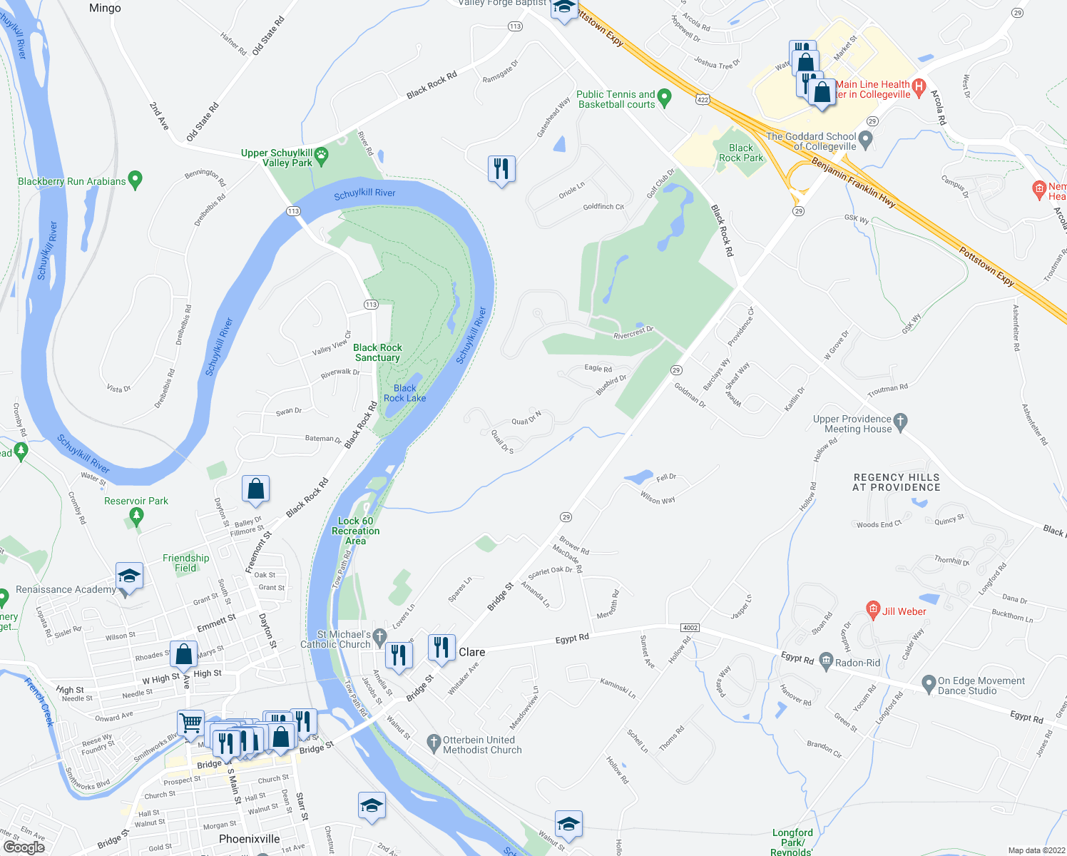 map of restaurants, bars, coffee shops, grocery stores, and more near 11 Quail Drive South in Phoenixville