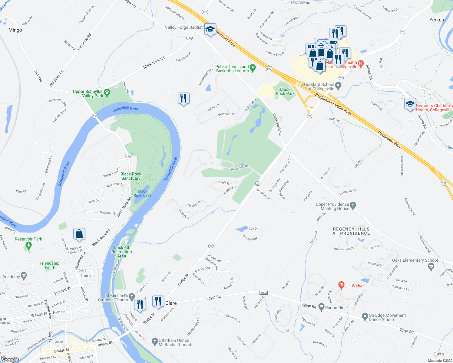 map of restaurants, bars, coffee shops, grocery stores, and more near 2 Starling Court in Phoenixville