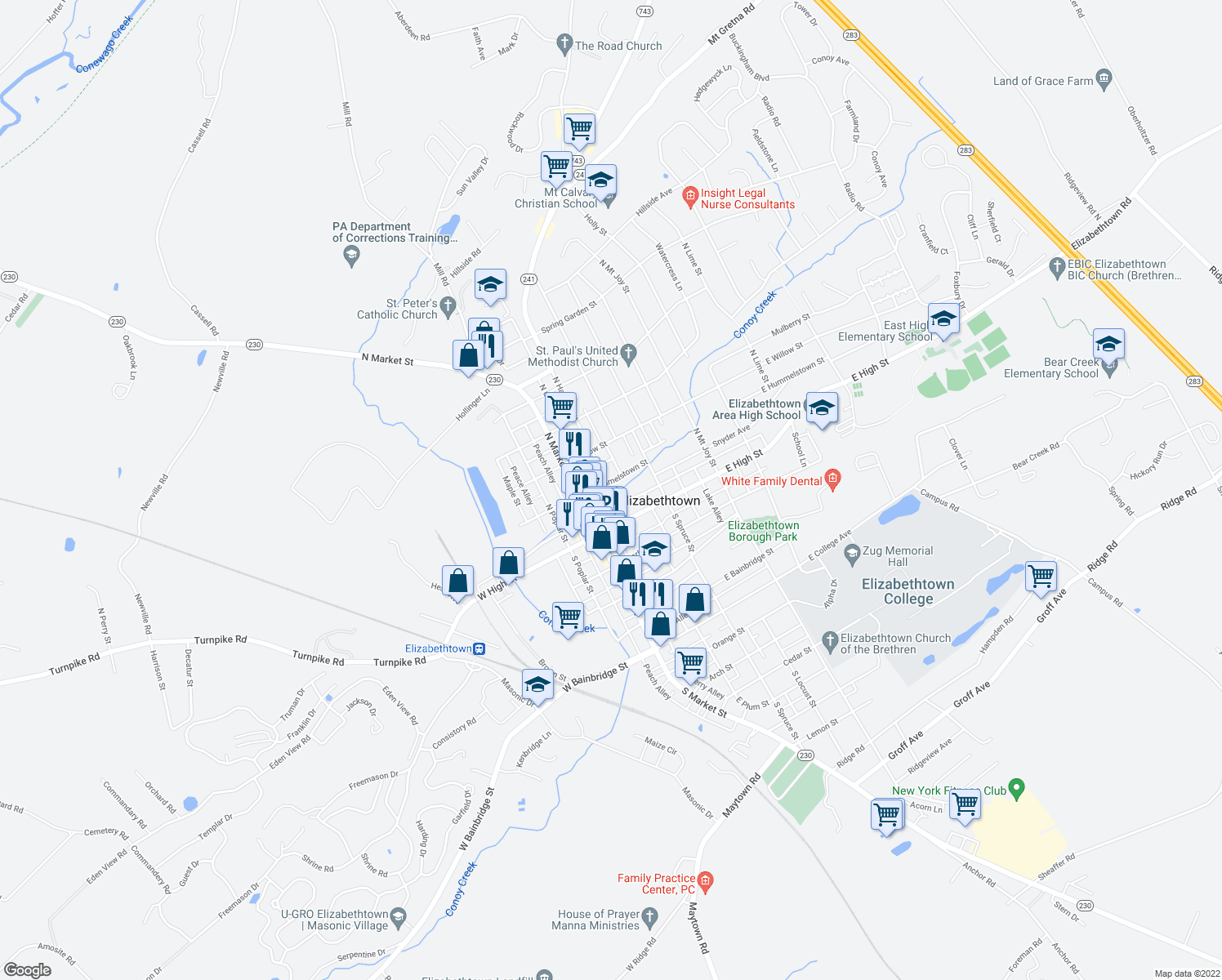 map of restaurants, bars, coffee shops, grocery stores, and more near 56 E Hummelstown St in Elizabethtown