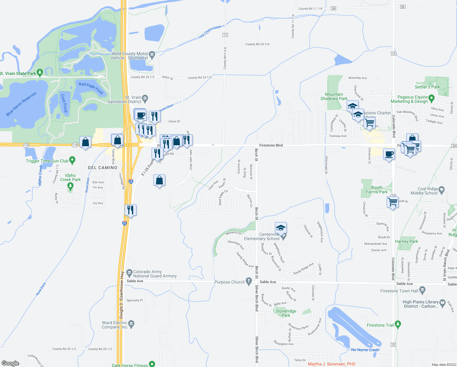 map of restaurants, bars, coffee shops, grocery stores, and more near 4700 Autumn Street in Firestone