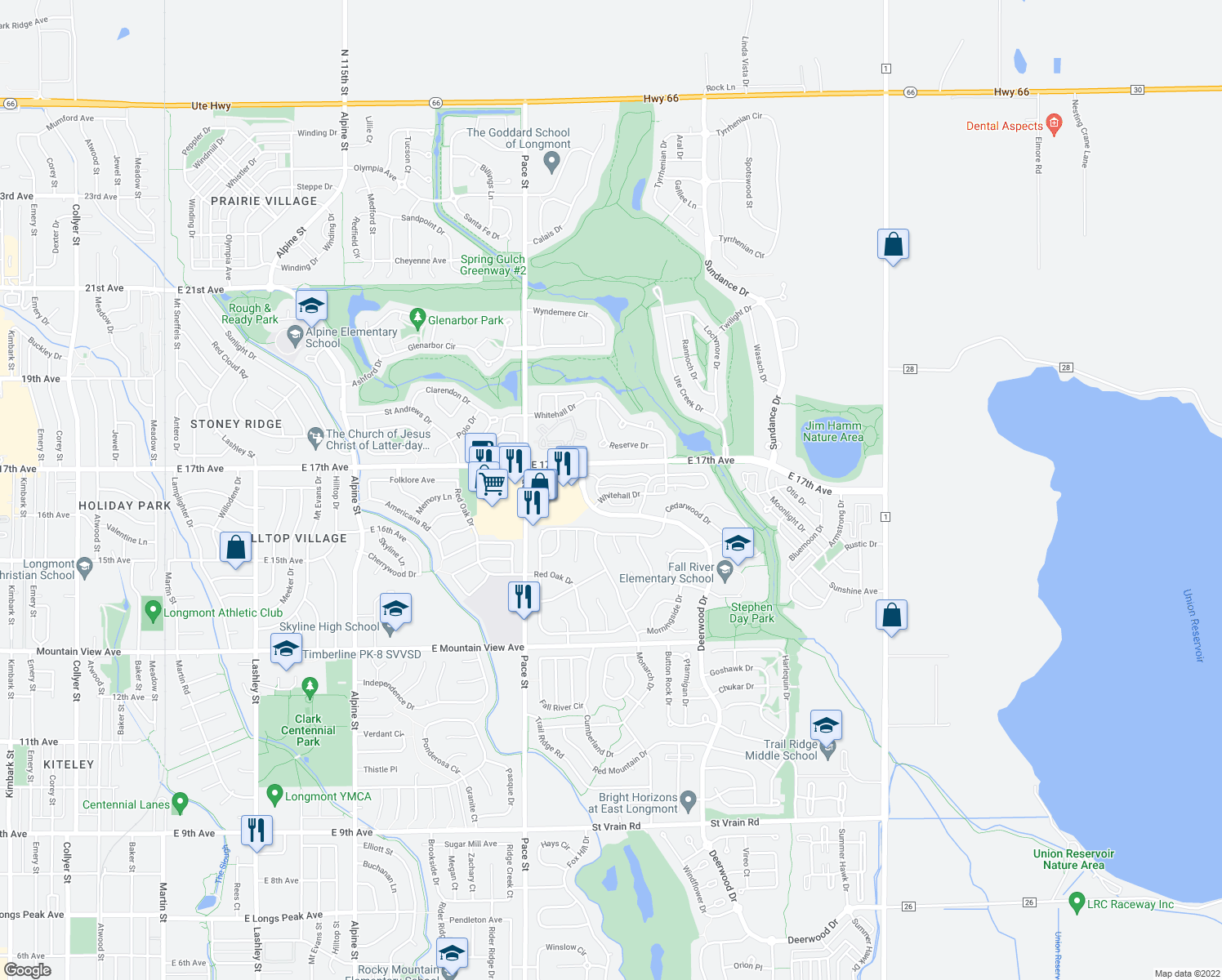 map of restaurants, bars, coffee shops, grocery stores, and more near 1612 Whitehall Drive in Longmont