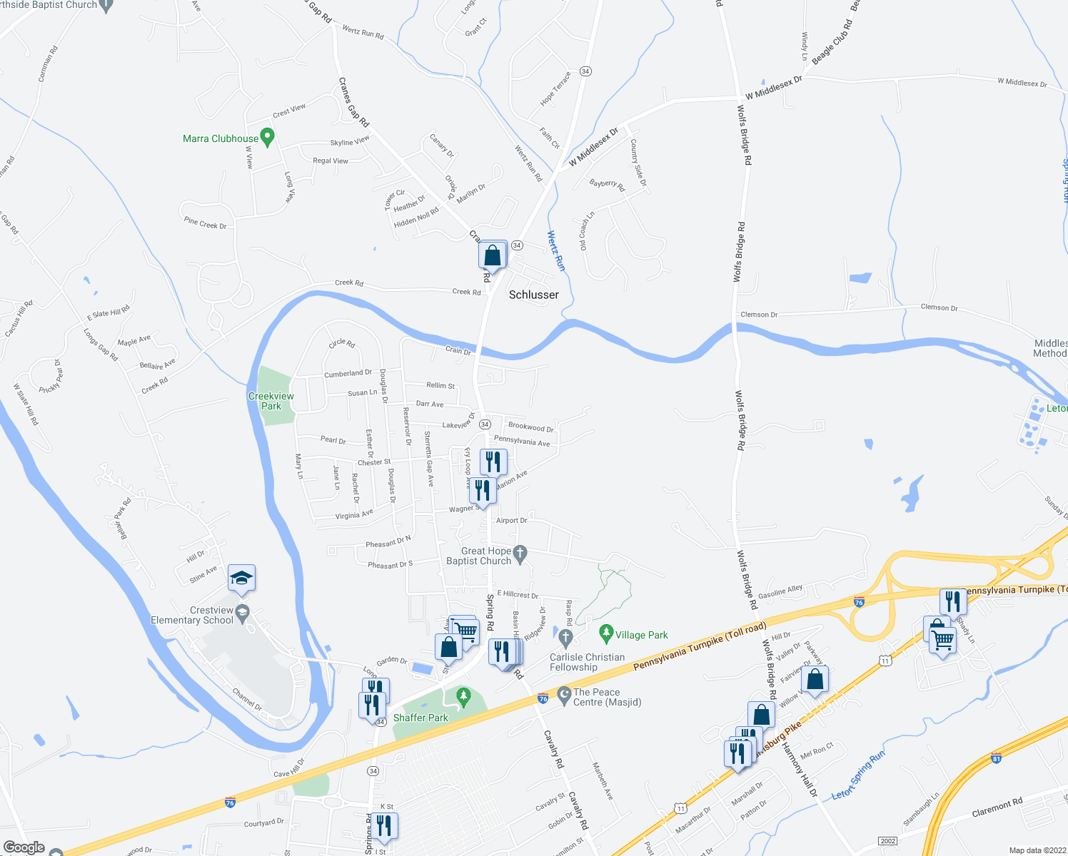 map of restaurants, bars, coffee shops, grocery stores, and more near Brookwood Drive in Carlisle