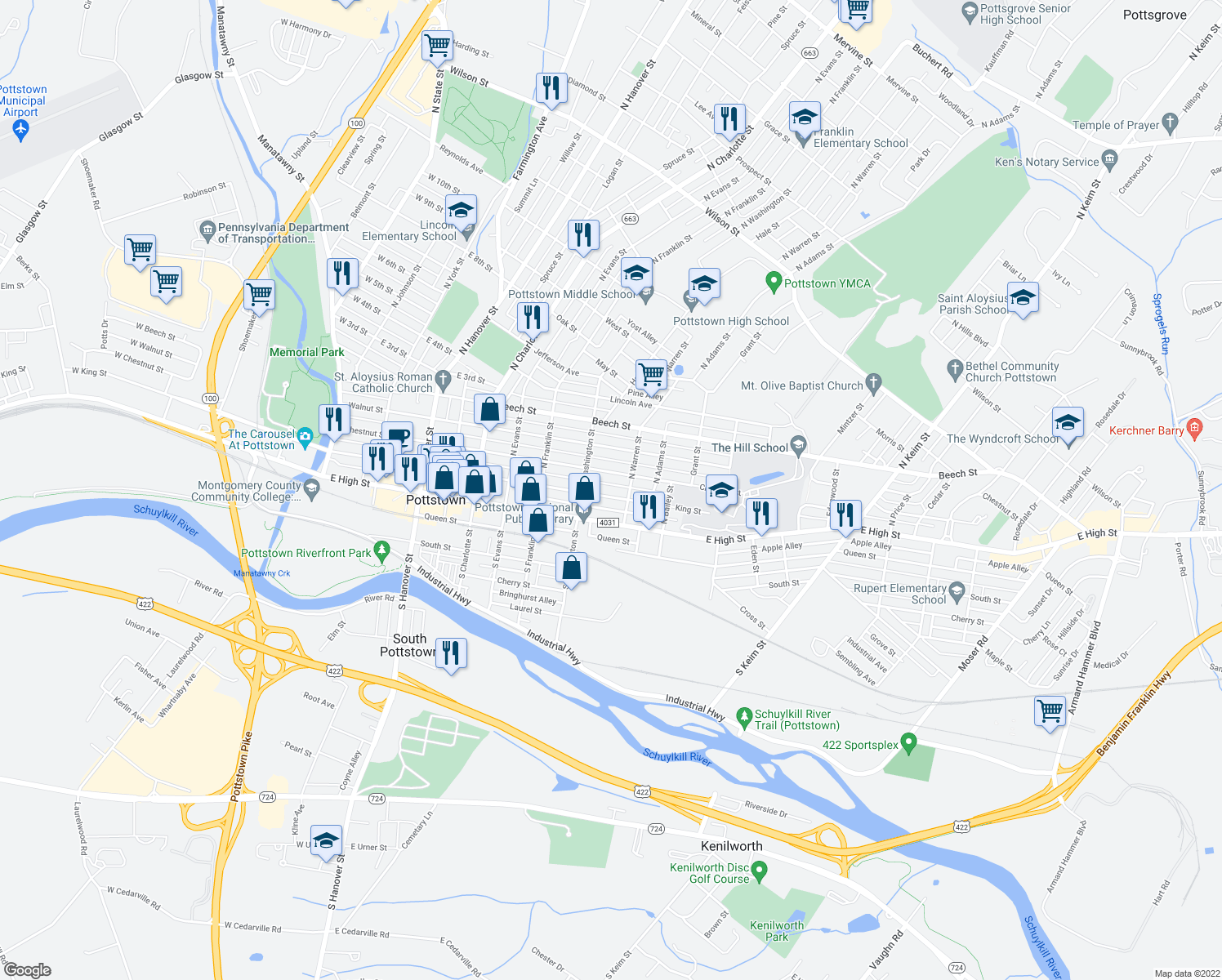 map of restaurants, bars, coffee shops, grocery stores, and more near 535-537 Chestnut Street in Pottstown