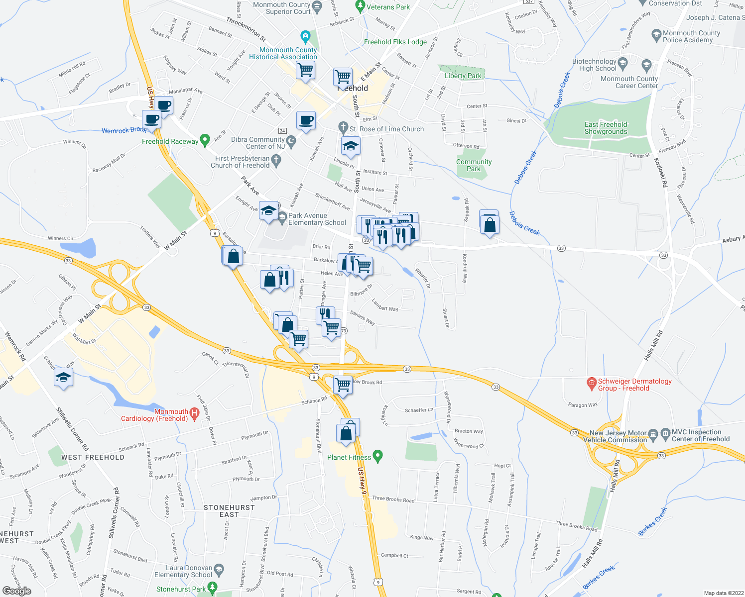 map of restaurants, bars, coffee shops, grocery stores, and more near 100 Lambert Way in Freehold