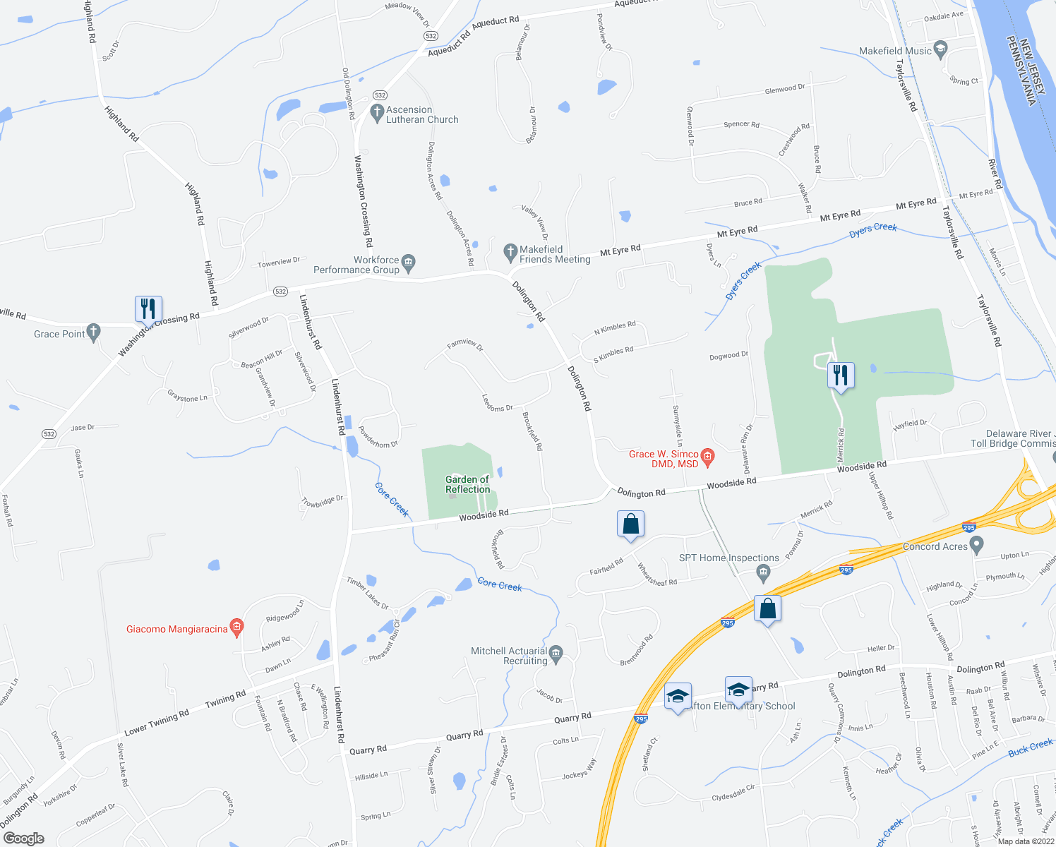 map of restaurants, bars, coffee shops, grocery stores, and more near 1583 Brookfield Road in Newtown