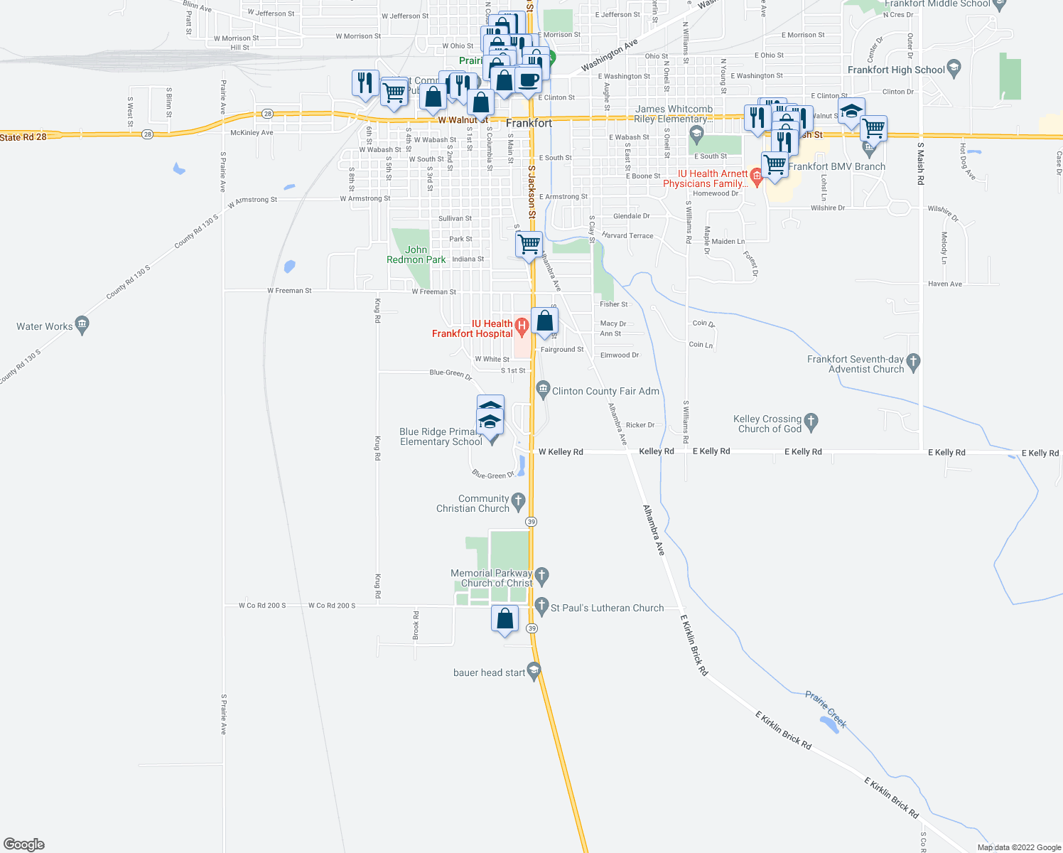 map of restaurants, bars, coffee shops, grocery stores, and more near 1802 South Jackson Street in Frankfort