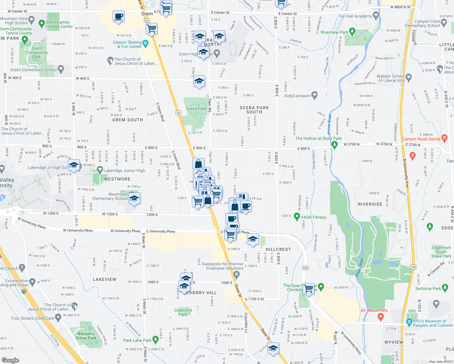 map of restaurants, bars, coffee shops, grocery stores, and more near 274 East 1000 South in Orem