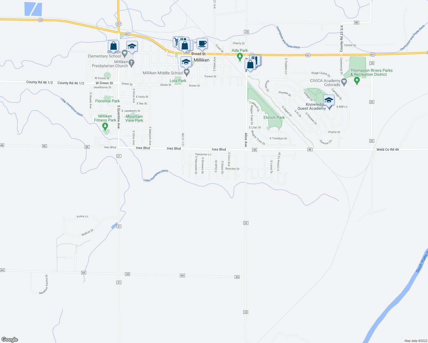 map of restaurants, bars, coffee shops, grocery stores, and more near 1479 South Dusk Drive in Milliken