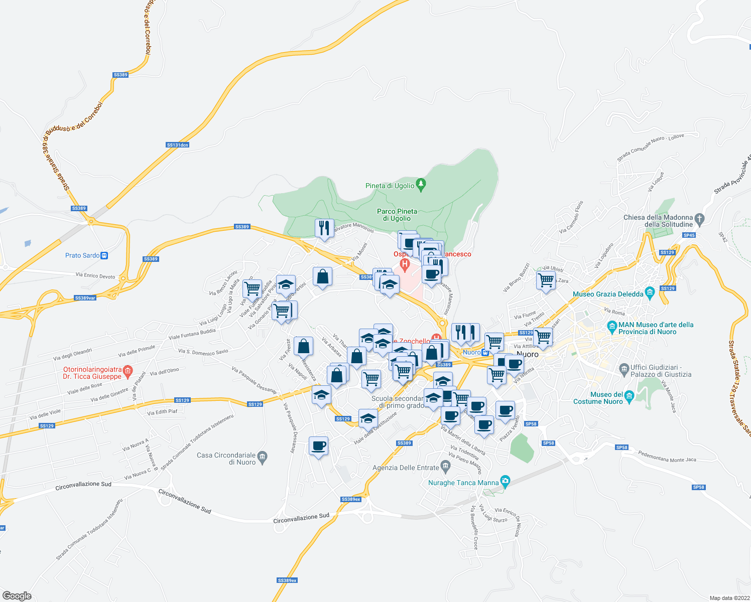 map of restaurants, bars, coffee shops, grocery stores, and more near Via Biscollai in Nuoro